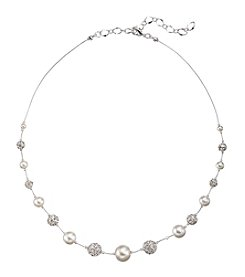Studio Works® White Simulated Pearls Clear Crystal And Silvertone Illusion Necklace