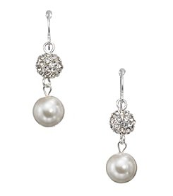 Studio Works® White Simulated Pearls Clear Crystal And Silvertone Two Bead Drop Earrings