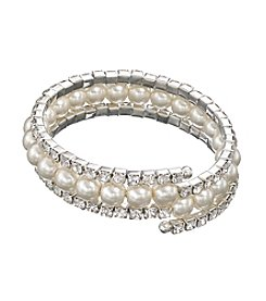 Studio Works® Silvertone Simulated Pearl And Rhinestone Spring Coil Bracelet