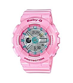 Baby-G Women's Analog-Digital Pink Strap Watch
