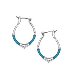 The Sak® Silvertone Mini Thread Wrapped Hoop Earrings