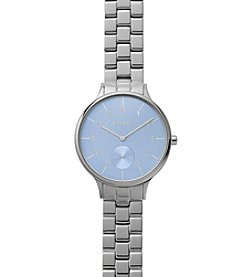 Skagen Denmark Women's Silvertone Anita Link Bracelet And Blue Dial Watch