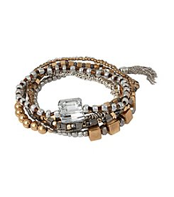 Kenneth Cole® Mixed Two-Tone Beaded And Fringe Stretch Bracelet Set