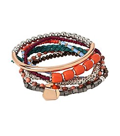 Kenneth Cole® Semiprecious Coral And Mixed Multi-Colored Bead Stretch Bracelet Set