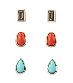 Kenneth Cole® Two-Tone Semiprecious Stone And Faceted Rectangle Stud Earrings Set