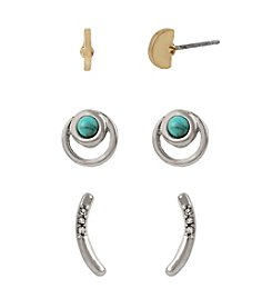 Kenneth Cole® Two-Tone Semiprecious Turquoise Stone And Curved Stick Stud Earrings Set