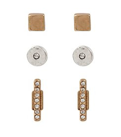 Kenneth Cole® Two-Tone Mixed Metal Circle And Stick Stud Earrings Set