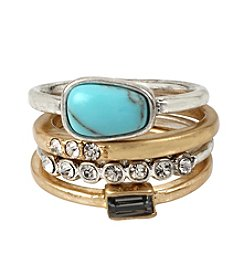 Kenneth Cole® Two-Tone Semiprecious Turquoise Stone Mixed Metal Stackable Ring Set