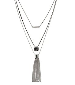 Kenneth Cole® Silvertone Pave Fringe Pendant Layered Necklace Set