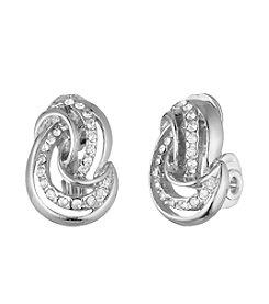 Anne Klein® Silvertone Clip Knot Earrings