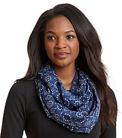 Cejon® Flower And Diamond Bandana Print Infinity Scarf