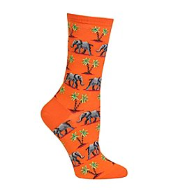 Hot Sox® Elephant And Palm Tree Crew Socks