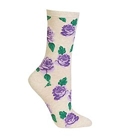 Hot Sox® Rose Print Crew Socks