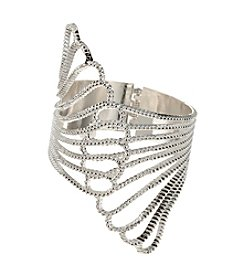GUESS Silvertone Claw Cuff Hinged Bracelet