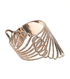 GUESS Rose Goldtone Claw Cuff Hinged Bracelet