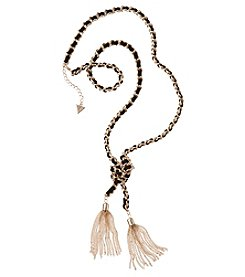 GUESS Goldtone Woven Twisted Tassel Necklace