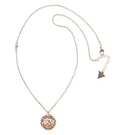 GUESS Rose Goldtone Crystal Accent Flower Ball Pendant