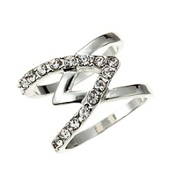 GUESS Silvertone Criss Cross Crystal Accent Ring