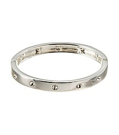 GUESS Silvertone Crystal Accent Bangle Bracelet