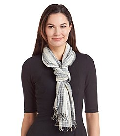 Basha Sparkle Lurex Stripe Oblong Scarf
