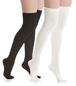 Steve Madden Two Pack Over The Knee Texture Socks