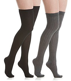 Steve Madden Two Pack Texture Over The Knee Socks