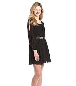 A. Byer Chiffon Belted Dress