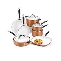 Bella 11-Piece Ceramic Cookware Set (Copper)