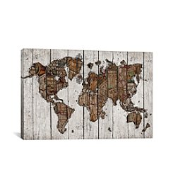 iCanvas Wood Map by Diego Tirigall Canvas Print