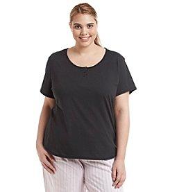 KN Karen Neuburger Plus Size Pajama Henley T Shirt