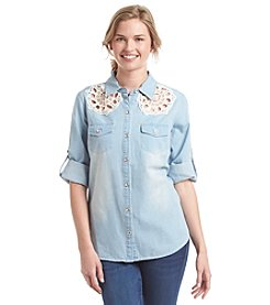 Sequin Hearts® Crochet Chambray Shirt