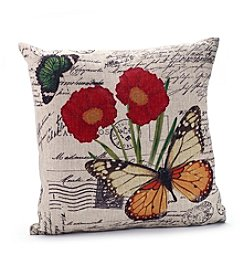 LivingQuarters Butterfly Script Decorative Pillow