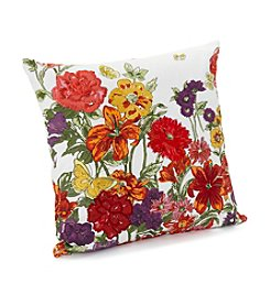 LivingQuarters Botanical Collection Embroidered Floral Print Pillow