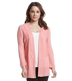 Notations® Solid Pointelle Cardigan