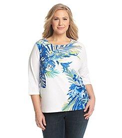 Breckenridge® Plus Size Paradise Island Printed Scoop Neck Tee
