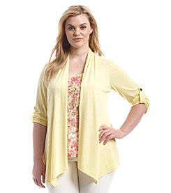 Notations® Plus Size Cozy Tiered Lace Layered Look Top