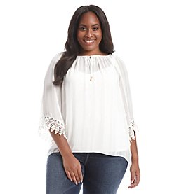 AGB® Plus Size Grid Woven Crochet Sleeve Top