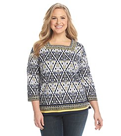 Alfred Dunner Sausalito Etched Diamond Border Knit Top