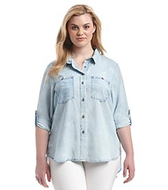 Democracy Plus Size Washed Button Down Tunic