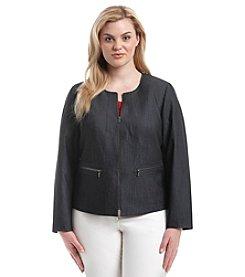 Calvin Klein Plus Size Denim Zip Front Jacket