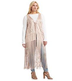 Jessica Simpson Plus Size Faux Suede Fringe Vest