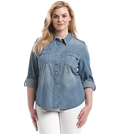 MICHAEL Michael Kors® Plus Size Military Denim Top