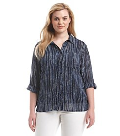 MICHAEL Michael Kors® Plus Size Printed High-Low Button Down Top