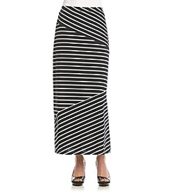 Notations® Petites' Striped Spliced Maxi Skirt