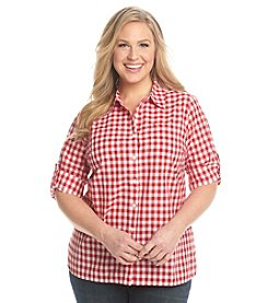 Studio Works® Plus Size Gingham Camp Shirt