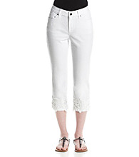 Earl Jean® Lace Bottom Capri Jeans
