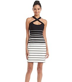 GUESS Wrapneck Striped Sheath Dress