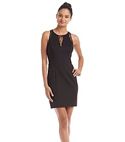 GUESS Lace Inset Scuba Sheath Dress