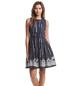 Taylor Dresses Printed Midi Fit And Flare Dress