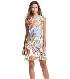 Taylor Dresses Tropical Print Scuba Dress